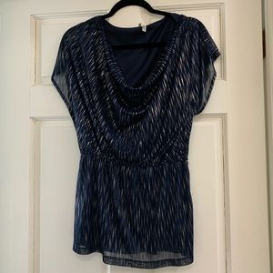 BLUE AND SILVER COUL NECK BLOUSE